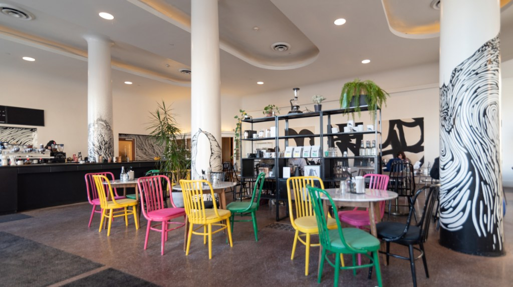 Public Espresso at the Lafayette Hotel in Buffalo, New York is a colorful cafe