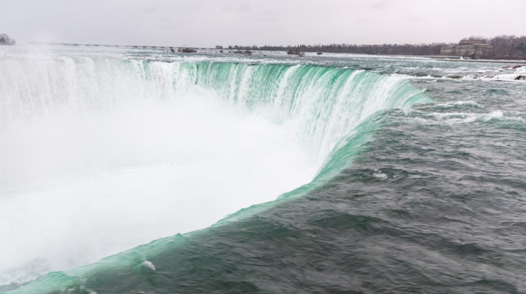The frozen Niagara Falls and Frozen Niagara River at the Horseshoe Falls