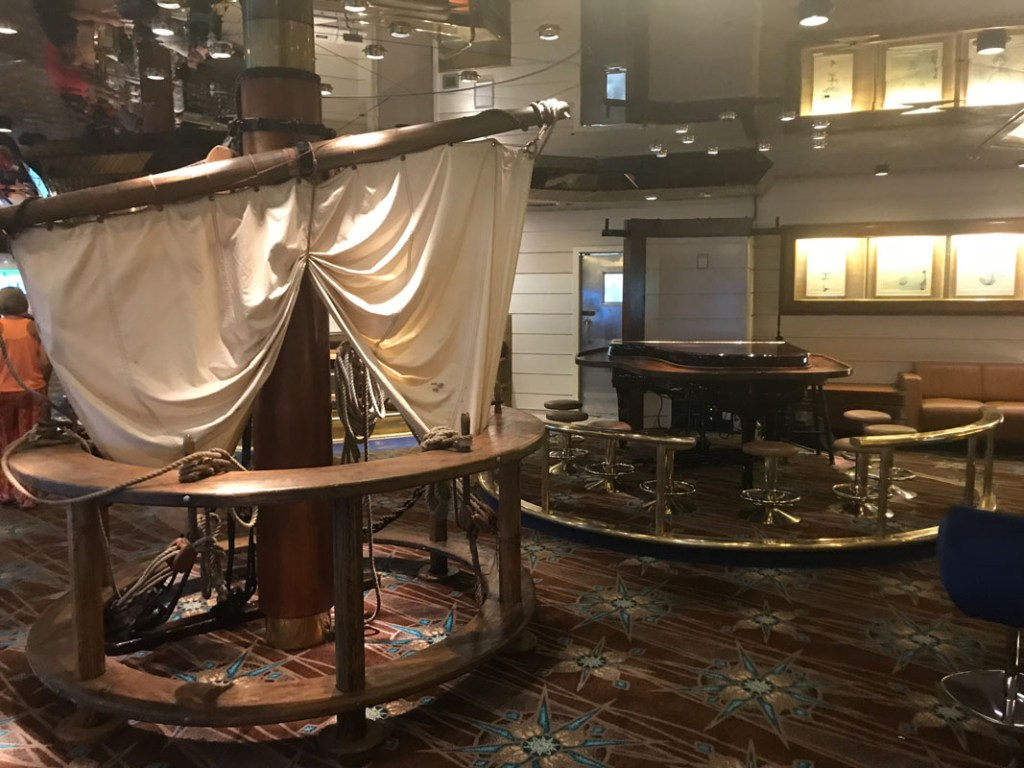 The Schooner Bar is a nautical-themed bar on the Royal Caribbean Majesty of the Seas