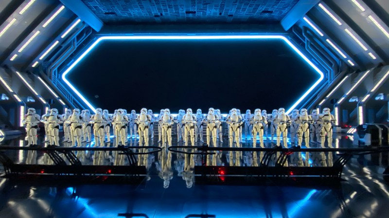 Stormtroopers greet you on the Star Wars Rise of the Resistence