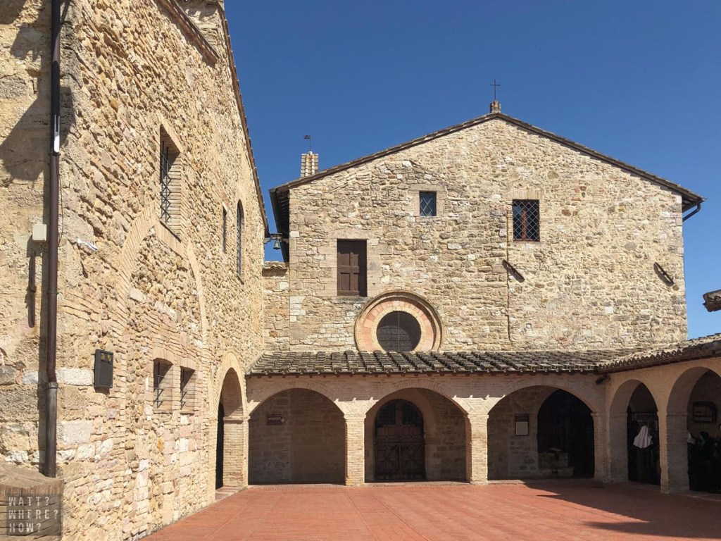 San Damiano is the medieval stone church just outside Assisi Italy, which St. Francis renovated with his brothers.