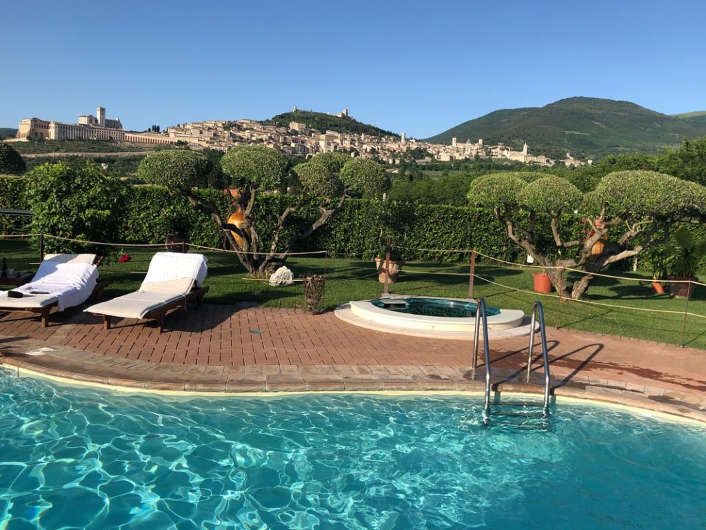 It may be a farm stay in Assisi, but it feels more like a resort with this sparkling pool.