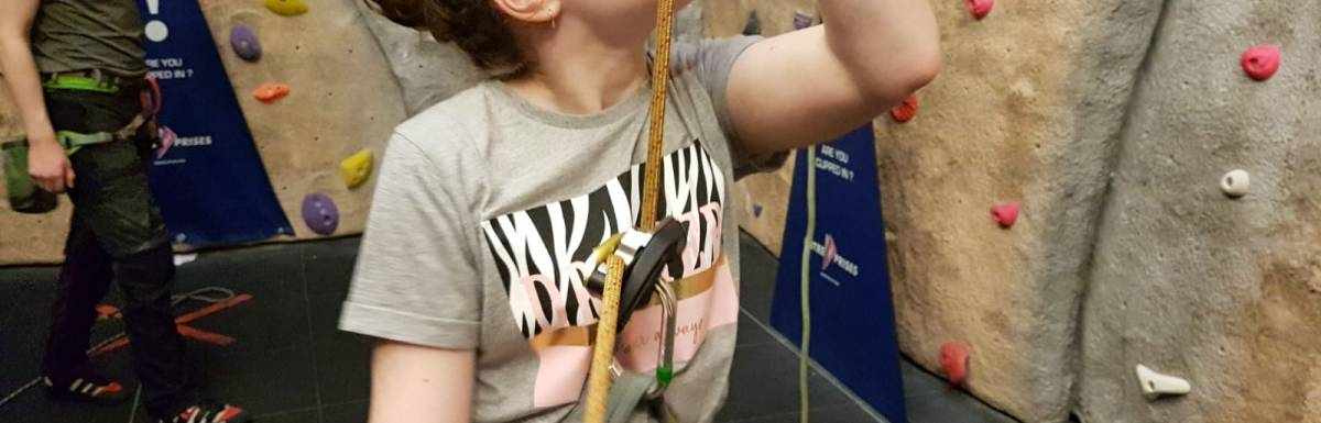 Children developing skills and confidence during latest climbing session