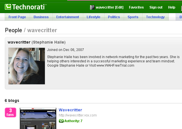 Wavecritter Technorati