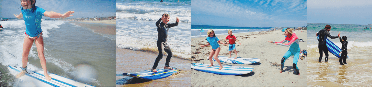 collage of youth surf programs and camps. Elementary school girl smiling while standing on surfboard in water, boy giving thumbs up after a ride, kids practicing surfing on manhattan beach, boy giving surf instructor a high five