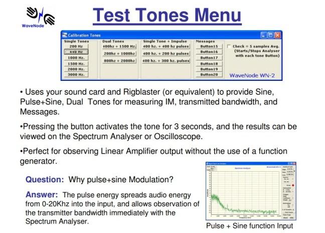Test Tones Menu