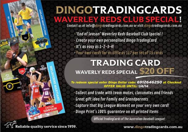 Dingo Trading Cards Waverley Reds Offer