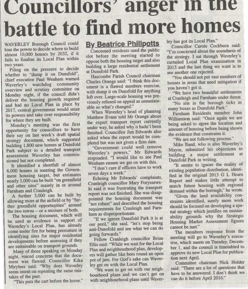15.11.19 - Councillors' anger in the battle to find more homes copy