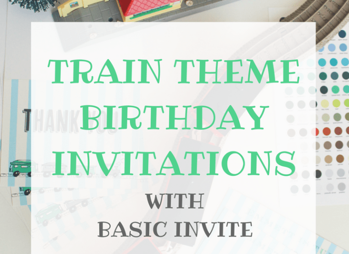 Train Theme invitations with basic INVITE for a toddler birthday party