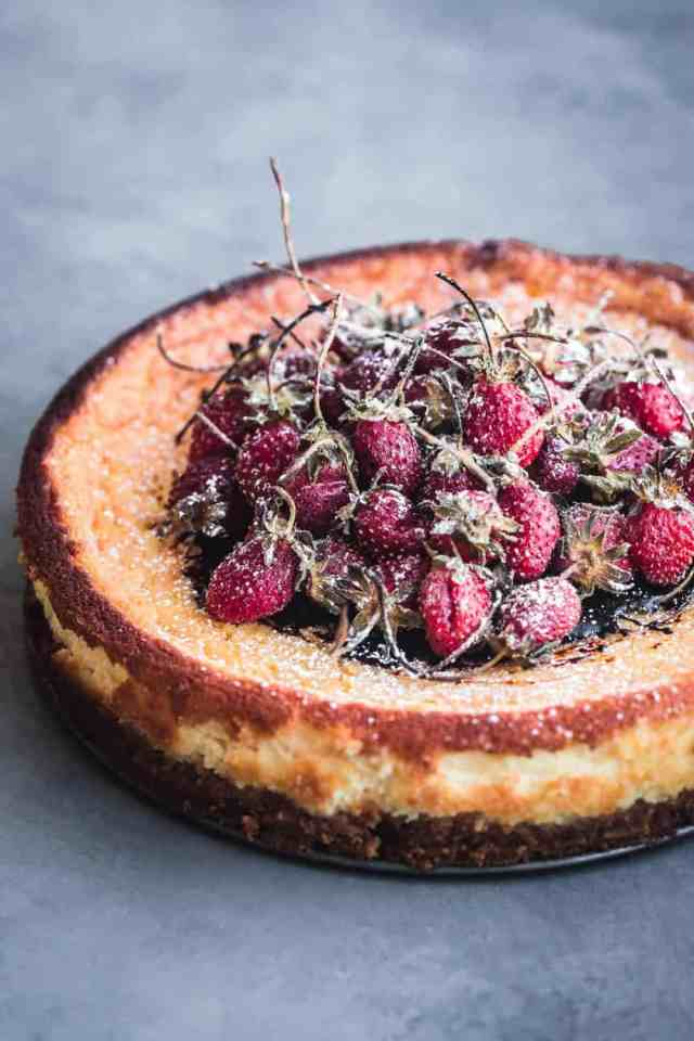 Amaretto Mascarpone Cheesecake With Balsamic Roasted Long Stemmed Strawberries Out Of The Spring Form