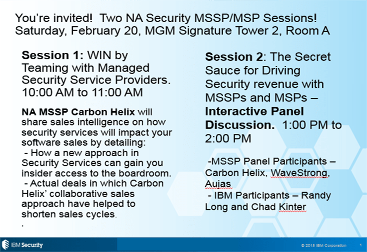Participated in Security MSSP Panel Sessions