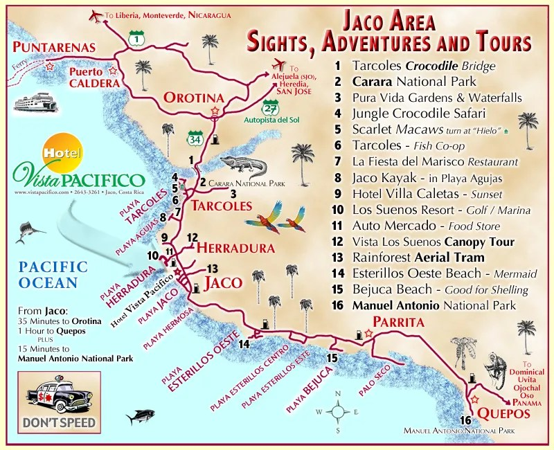 jaco costa rica map