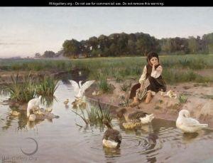 Bodarevsky Ukrainian Girl Tending Geese