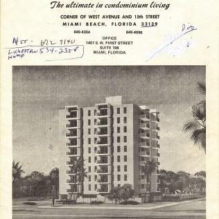 Bayshore Terrace Condo, 1455 West Ave, 1972 sales brochure