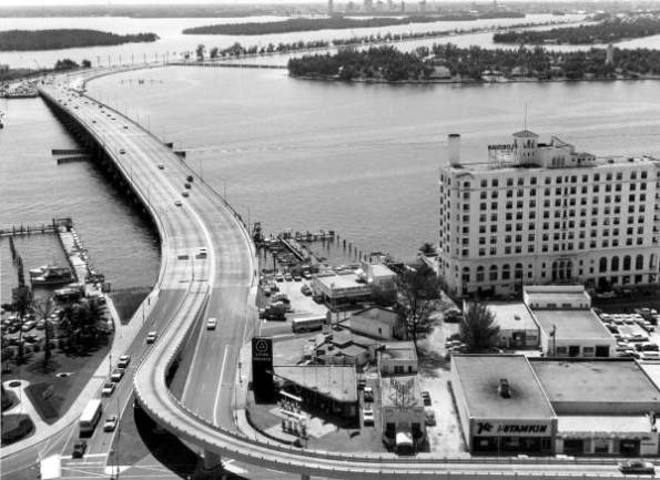 MacArthur Causeway and Alton Rd Fly Over. Star Island near background. Palm Island and future Port of Miami far background, 1959.