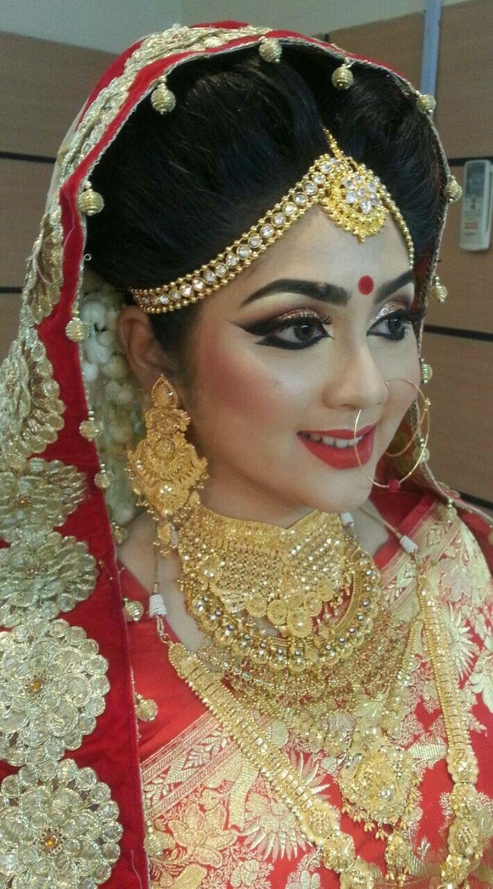 bridal makeup photos bangladesh - wavy haircut