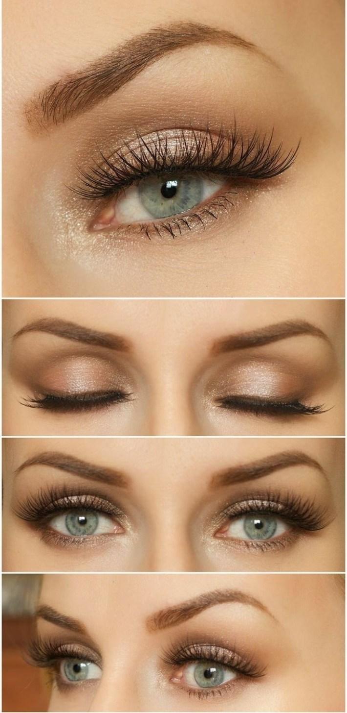 natural makeup look for blue eyes and brown hair - wavy haircut