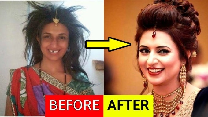bollywood actresses before and after makeup - wavy haircut