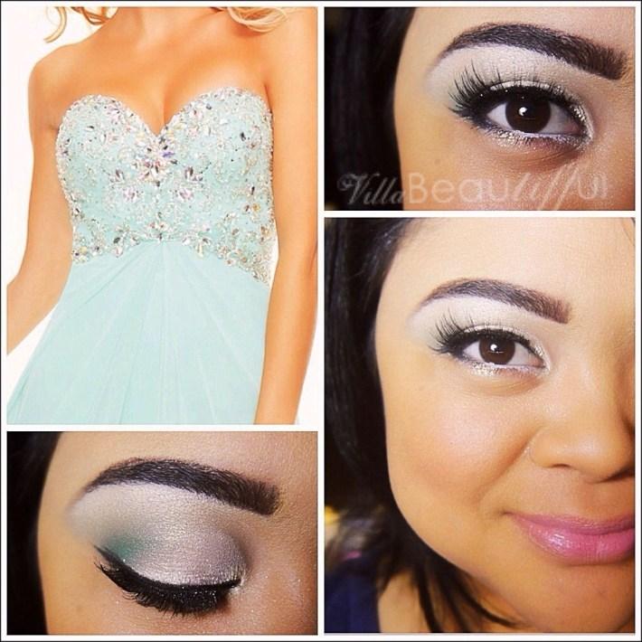 Formal Eye Makeup For Blue Eyes | Motd: Prom Makeup Mint Green Dress with Makeup Blue Eyes Green Dress
