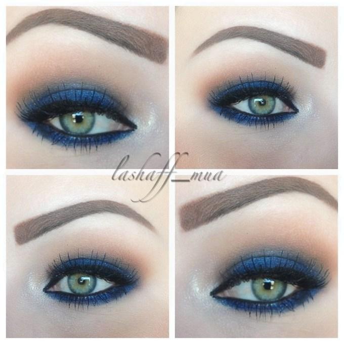 makeup blue eyes green dress - wavy haircut