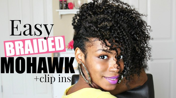 Easy Braided Mohawk ▻Natural Hair - Youtube inside Braided Mohawk With Sew In Weave