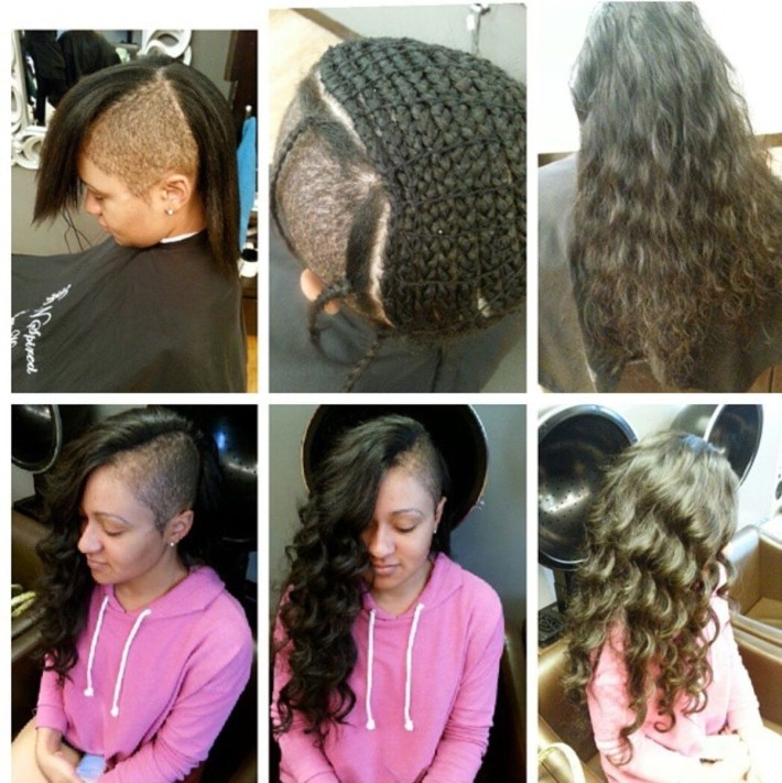 Sew In Shaved Sides Braid Extensions Wavy Human Hair | Extensions in Braided Mohawk With Sew In Weave