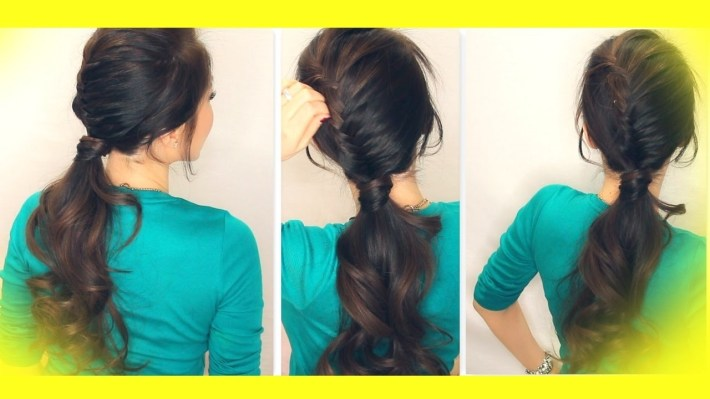 ★ School Hairstyle Tutorial | Half French Fishtail Braid Fancy Ponytail |  Medium Long Hair within Casual Indian Hairstyles For Medium Hair