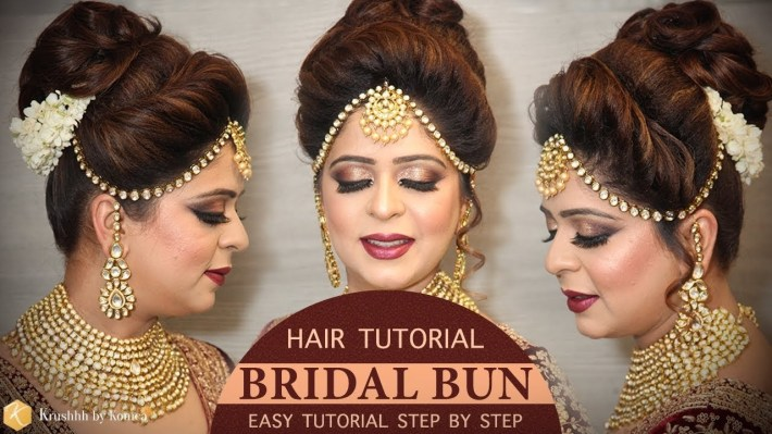 Easy Bridal Bun Hairstyle Tutorial   Step By Step Bridal Hairstyle  Tutorials   Krushhh By Konica throughout Bun Hairstyle For Indian Bride
