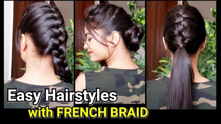 Everyday Quick Easy Hairstyles With French Braid//hairstyles For Medium To  Long Hair//bun/ponytail within Casual Indian Hairstyles For Long Hair