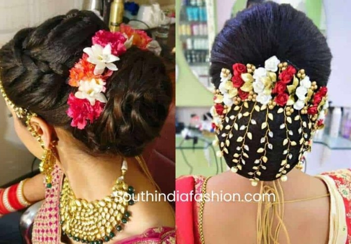 Indian Wedding Bun Hairstyle With Flowers And Gajra! intended for Bun Hair Style For Indian Bride