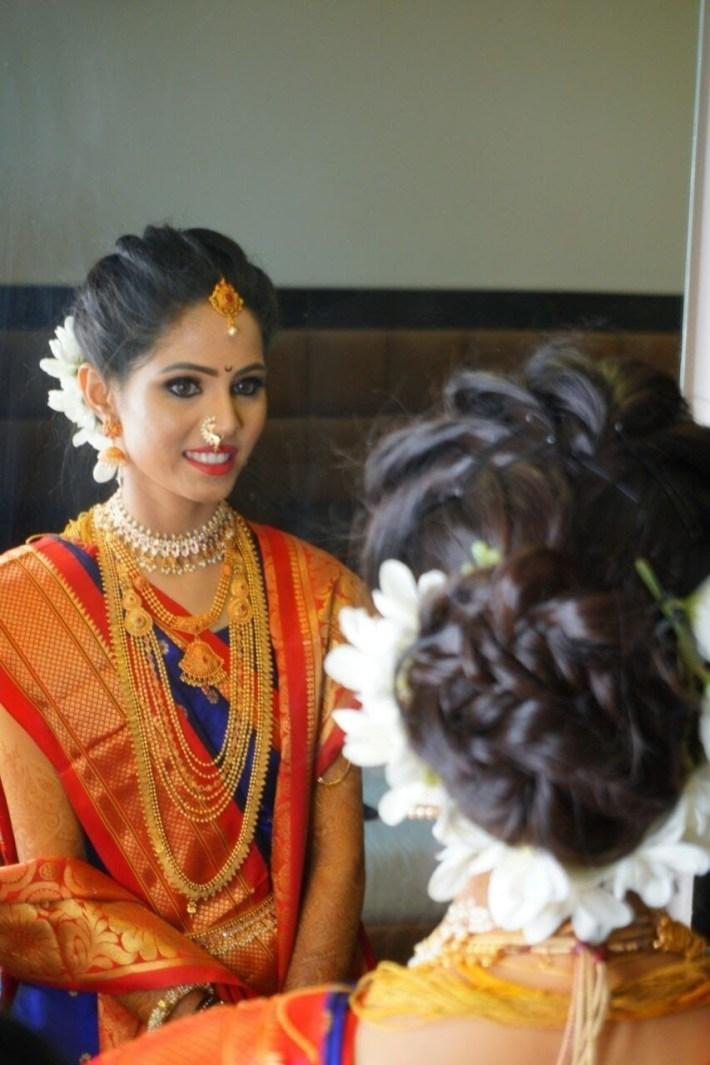 Marathi Bride Makeup #royalbride #hairstyle #marathilook #wedding intended for Bridal Hairstyle Indian Marathi Style