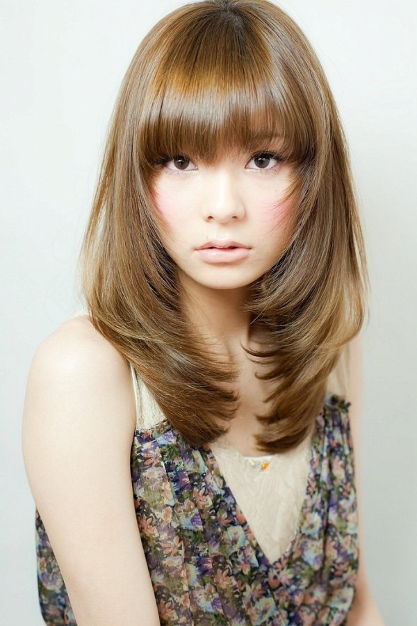 Shoulder Length Layered Hairstyles With Bangs For Thin Fine Brown throughout The greatest Asian Womens Hairstyles Long Length