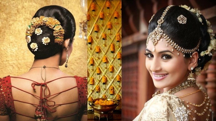 South Indian Bridal Makeup And Hairstyle Tutorial |Simple Bridal Bun  Hairstyle &makeup For Reception pertaining to Bun Hair Style For Indian Bride