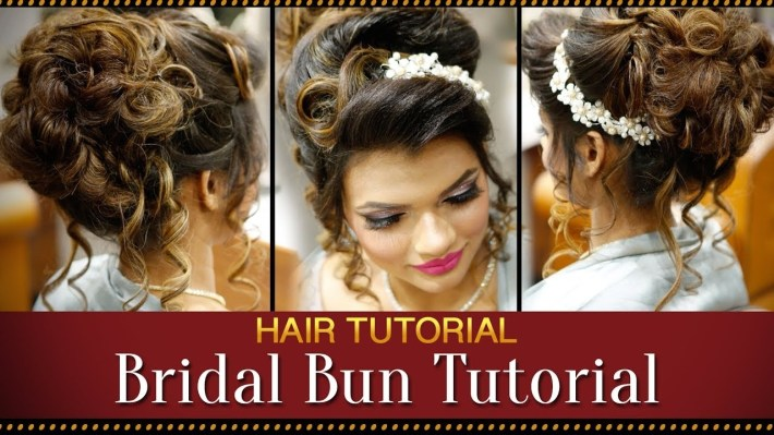Step By Step Indian Bridal Bun Hairstyle Tutorial Video | Bridal Hairstyles  For Asian Wedding with Bun Hairstyle For Indian Marriage