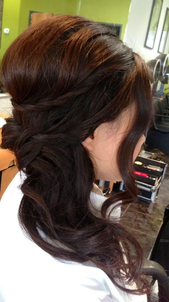 Wedding Updo, Wedding Hair, Bridal Hair, Curls, Side Ponytail, Asian with Best Asian Wedding Updo Hairstyles