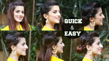 6 Quick & Easy Indian Hairstyles For Medium To Long Hair / Perfect Side  Hair Poof - No Teasing throughout Indian Hairstyles For Medium Hair