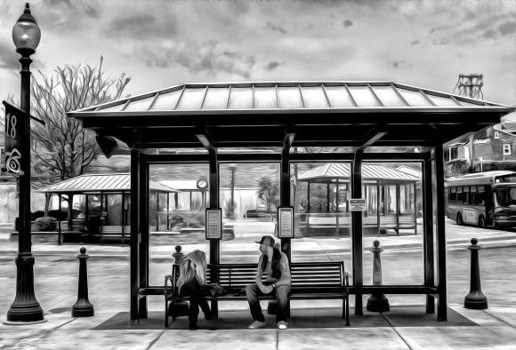 lancaster scenes at the bus stop-4 b&w