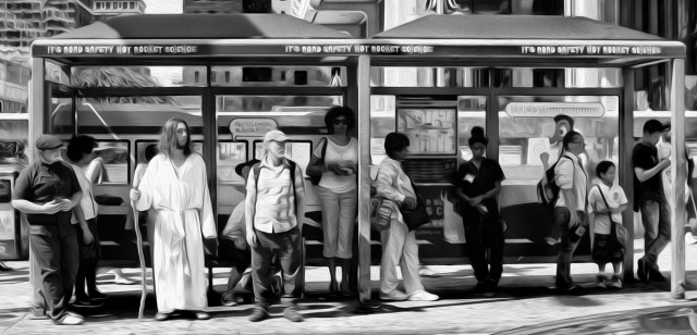 scene at the bus stop 37