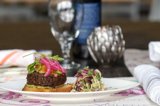 vrai quinoa burger and slaw