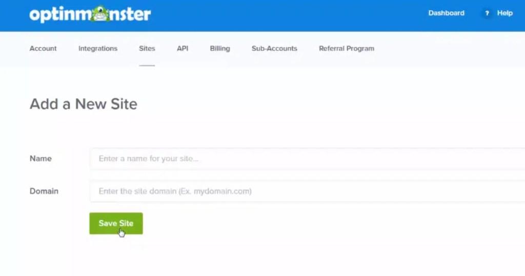 optinmonster ajouter votre site