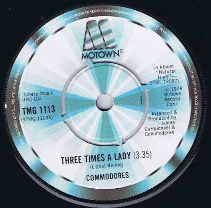 Commodores – Three Times A Lady - TMG 1113 - 7-inch Vinyl Record