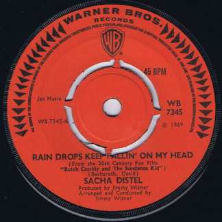 Sacha Distel – Rain Drops Keep Fallin' On My Head - WB 7345 - 7-inch Record