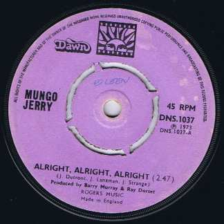 Mungo Jerry – Alright, Alright, Alright - DNS. 1037 - 7-inch Vinyl Record