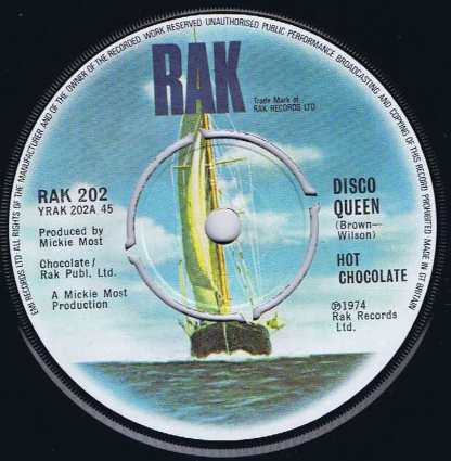 Hot Chocolate – Disco Queen - RAK 202 - 7-inch Record