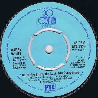 Barry White – You're The First, The Last, My Everything - BTC 2133 - 7-inch Vinyl Record