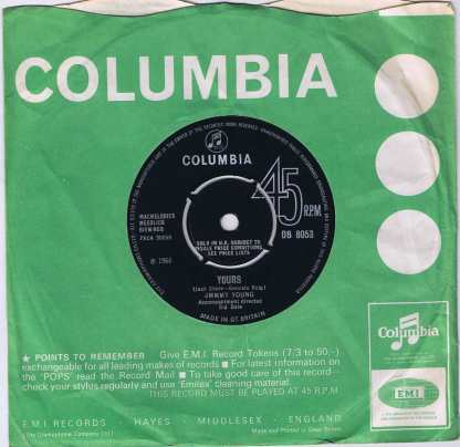 Jimmy Young - Half A Worlds Away - DB 8053 - 7-inch Vinyl Record