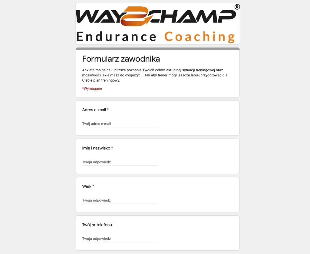Ankieta zawodnika / Athlete Survey coaching cycling