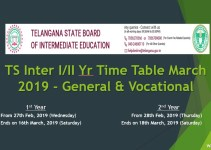 TS Inter III Yr Time Table March 2019 - General & Vocational
