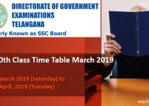 TS 10th Class Time Table March 2019