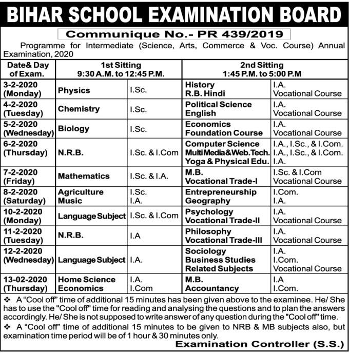 Bihar Board Intermediate Time Table 2020